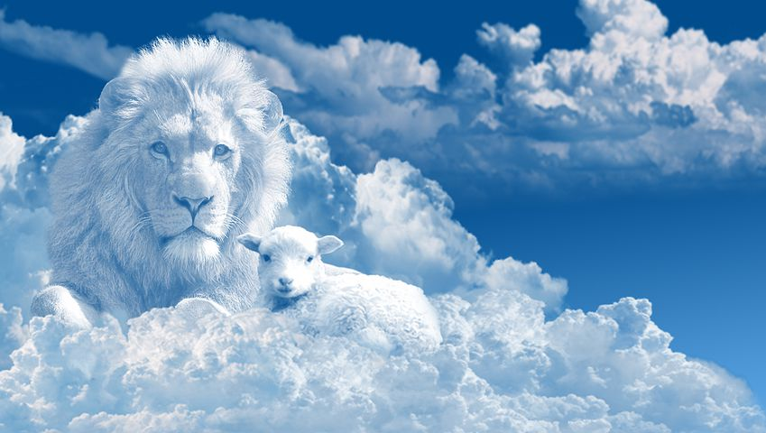 Lion and the Lamb in the clouds